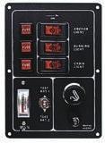Schalterpaneel, 3-fach, vertikal, Zigarettenanzünder (Steckdose ) und Batterieanzeige