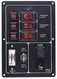 Schalterpaneel, 3-fach, vertikal , mit Taster u. Batterieanzeige
