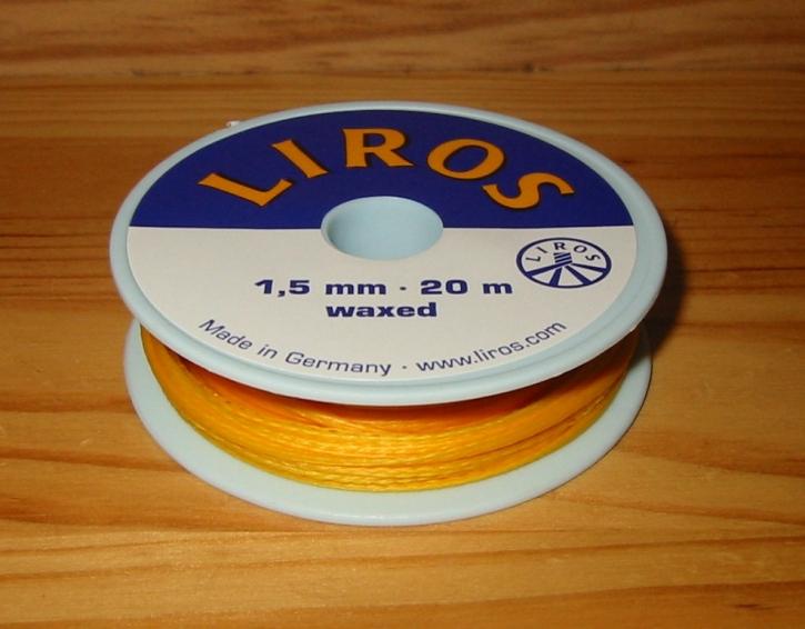 Liros Takelgarn , 1,5 mm x 20 mtr., gelb , gewachst