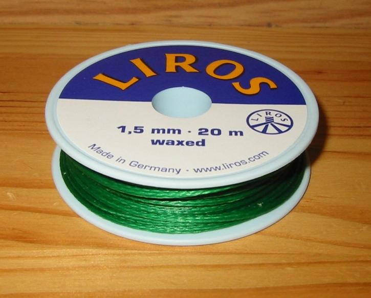 Liros Takelgarn , 1,5 mm x 20 mtr., grün , gewachst