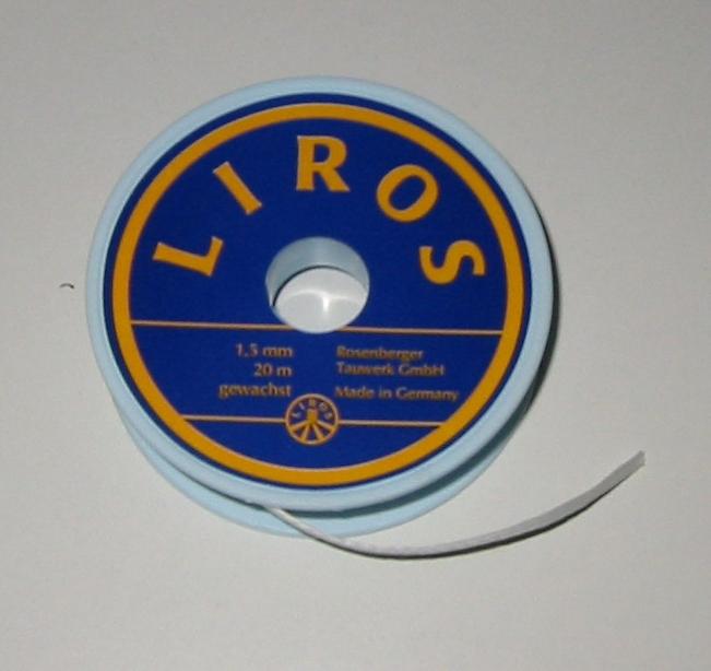 Liros Takelgarn , 1,5 mm x 20 mtr., weiß , gewachst