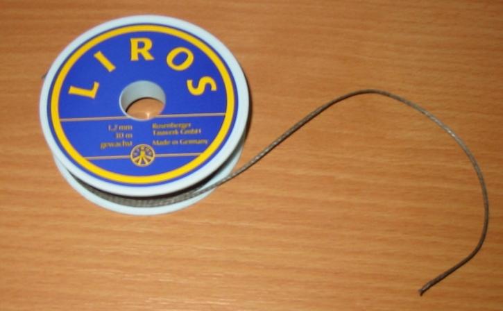 Liros Dyneema Takelgarn , 1,2 mm x 30 mtr., grau