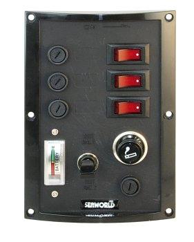 Schalttafel 3-fach, vertikal, mit Batterietester und Zigarettenanzünder ( Steckdose ), 12 Volt
