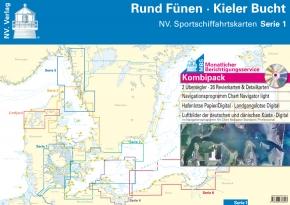 NV. Sportschiffahrtskarten Serie 1 , Kombipack , Rund Fünen - Kieler Bucht , Edition 2019 als Plano