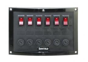 Schalttafel 6-fach, vertikal mit beleuchtetem Schaltern . 12 Volt